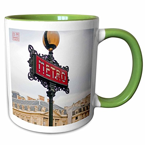 3dRose Nano Calvo Paris - Classic and popular Metro Sign, entrance to city subway, Paris, France - 11oz Two-Tone Green Mug (mug_107803_7)