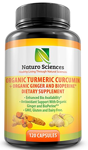 Organic Turmeric Supplement Curcumin Extract with BioPerine Black Pepper Extract and Ginger Powder Naturo Sciences 120 Capsules