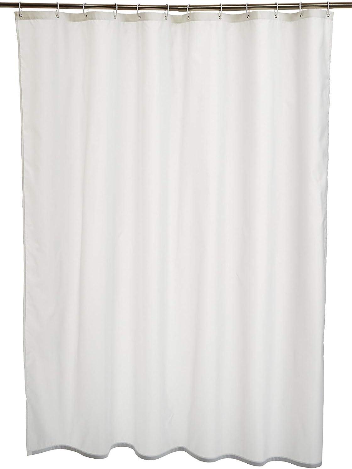Amazon Basics Printed Fabric Shower Curtain,White,180 x 200cm 180 x 200cm White
