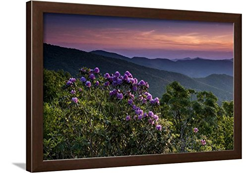 ArtEdge Sunset, Cowee Mountain Landscape, Blue Ridge Parkway, North Carolina Photographic Print, Brown Frame, 27x19, Brown Frame-Unmatted -