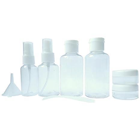 af51db53b Neceser transparente - 8 envases impermeables | 1l de capacidad | bolsa de  cosméticos - equipaje