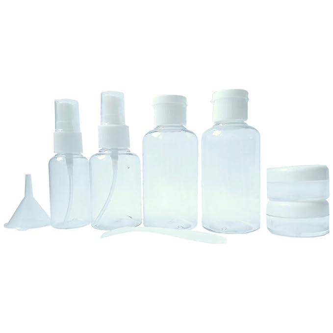 Neceser transparente - 8 envases impermeables | 1l de capacidad | bolsa de cosméticos - equipaje de mano | transporte de líquidos en el avión - ...