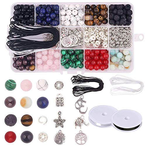 Fishdown 420Pcs Natural Gemstone Beads Kits 8mm Round Chakra Beads Loose Stone Beads Spacer Beads for Bracelet Jewelry Making