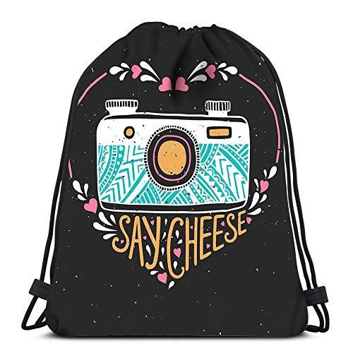 Randell Gym Drawstring Backpack Sport Bag Black Cat Bat Quote Bad Luck Happy Halloween Lightweight Shoulder Bags Travel College Rucksack for Women -