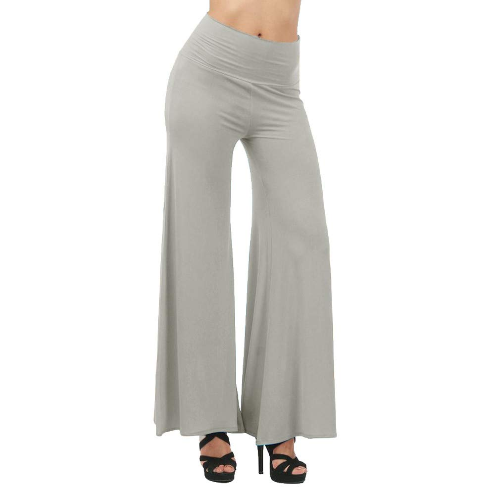 Geetobby Women Wide-leg Pants High Waist Loose Bloomers Yoga Dance Full Trousers