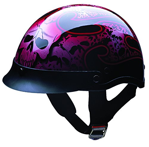 HCI HCI-100 Tribal Skull Half Helmet with Visor (Gloss Black With Red and Silver Skull Graphic, Small) ()