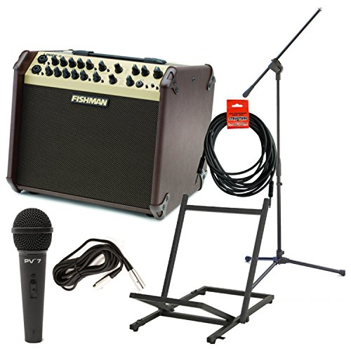 Fishman PRO-LBX-600 Loudbox Artist Acoustic Guitar Amp w/Amp Stand, Microphone with Cable, Mic Stand, and Instrument Cable - Loudbox 100 Acoustic Amplifier