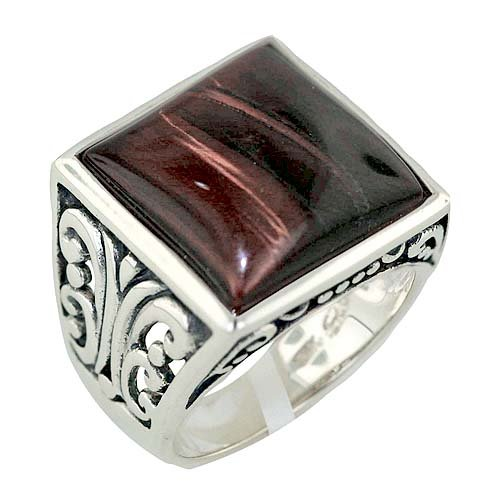 Nickle Free .925 Sterling Silver Gemstone Square Red Tiger Eye Oxidized Filigree 3mm Band Ring Size 8
