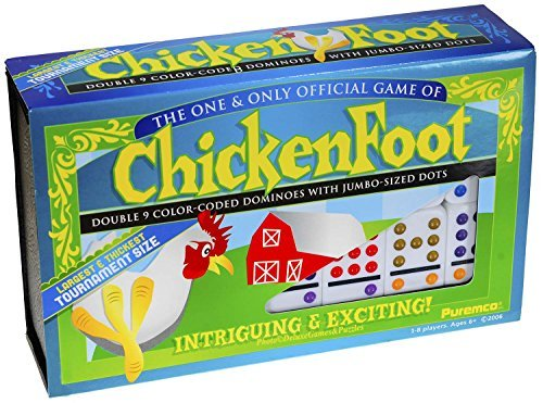(Dominoes Chicken Foot Double 9, Tournament Size Set with Colored Dots)