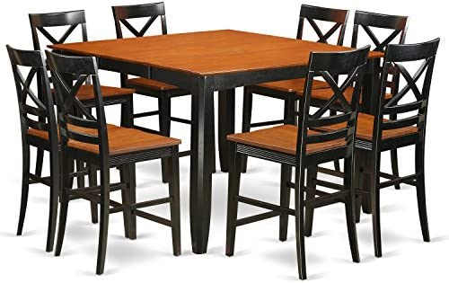 FAQU9H-BLK-W 9 Pc counter height Dining set – Kitchen Table and 8 bar stools.