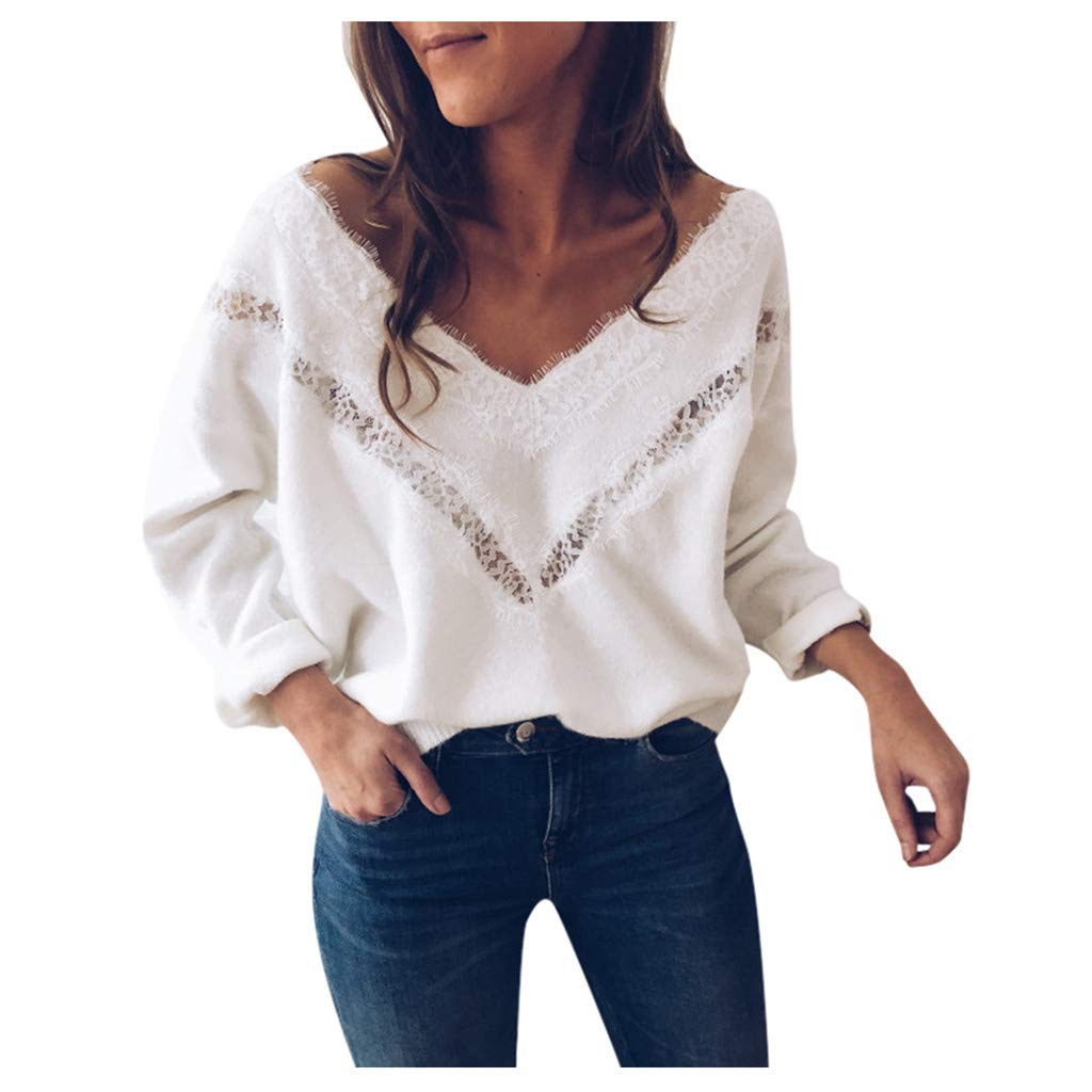 SHUSUEN Women's Loose Knitted Sweater Long Sleeve V-Neck Ripped Pullover Lace Sweaters Hollow Tops White by SHUSUEN