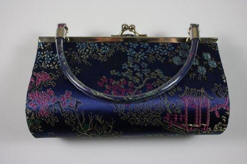 Blau/Multi Muster, Satin & Seide Brokat Abend Clutch (Make Up Tasche) mit Griff, Länge 17,75x Höhe 10.2cm