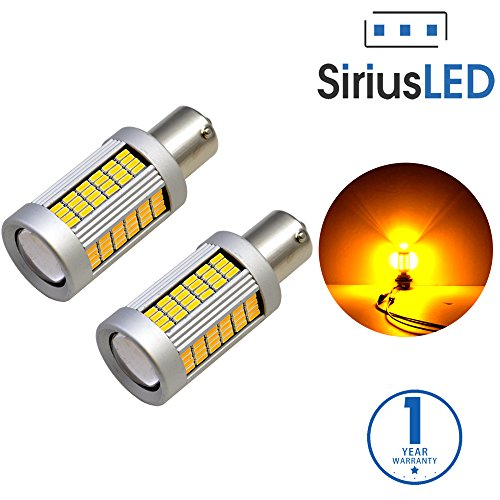 SiriusLED 1156 Anti Hyper Flash Built-in load resistor True 25W Amber Extremely Bright LED Bulb for Turn Signal (Do not use on position other than turn signal) 1156A 7506 Pack of 2 ()