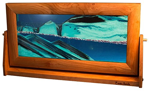 Exotic Sands - Incredible Sand Pictures. XL21 Art or Magic? William John Tabar Named Artist of The Year. X Large Cherry Frame (Ocean Blue) Gift 2015.