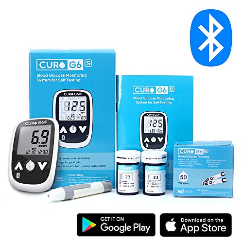 CURO G6s Glucose Bluetooth Home Test Kit – Blood Sugar Monitor Device and Included Set of 50 Strips