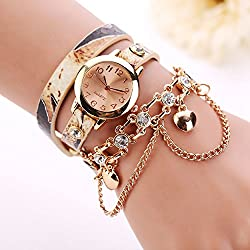 Rhinestone Bracelet Watch COOKI Clearance on Sale Women Analog Leather Lady Watches Female watches-H68 (Beige)