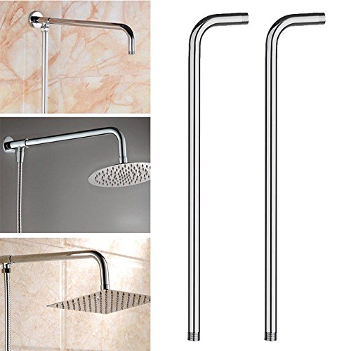 60CM 24'' Wall Shower Head Extension Pipe Long Stainless Steel Arm Bathroom Home