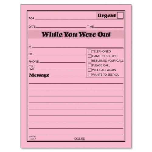 Wholesale CASE of 25 - Tops Pink Bond Sheets Message Pads-Printed Message Pads,4-1/4''x5-1/2'', 50 Sht/Pad,12/PK, B.PINK