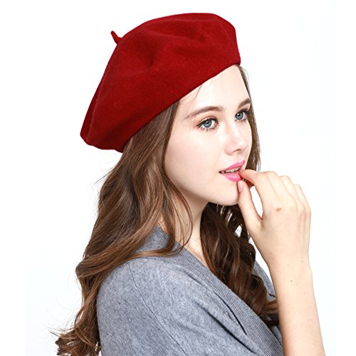 Winter Classic 100 Wool (Classic WW004 Winter 100% Wool Warm French Art Basque Beret Tam Beanie Hat Cap (A RED))