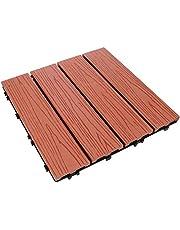 YARDWE Wood Interlocking Floor Tiles Patio Paver Balcony Interlocking Deck Tile for Outdoor Indoor Porch Backyard Garden Pathway Decorations Red