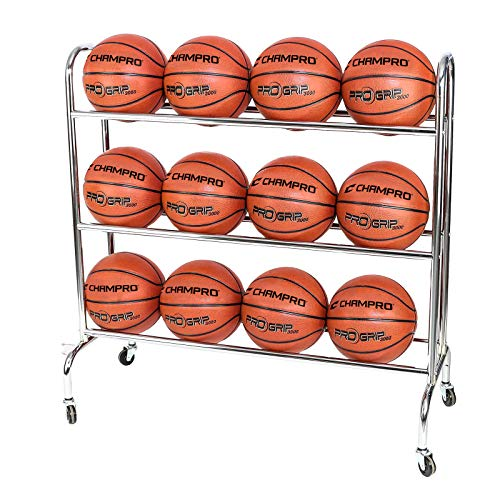 Find Cheap Champro 12 Ball Rack with Casters, Upright (Silver, 41 x 17 x 41)