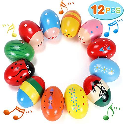 12 PCS Wooden Egg Shakers 3