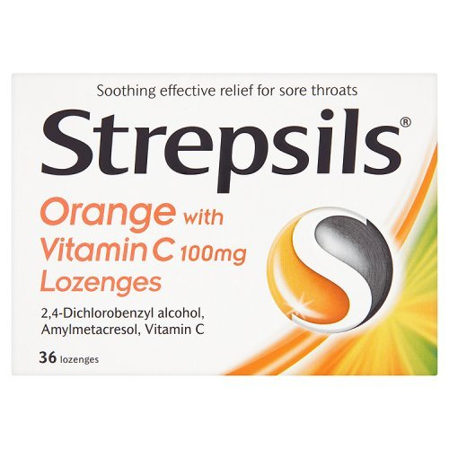 Strepsils Orange with Vitamin C 100mg 36 Lozenges