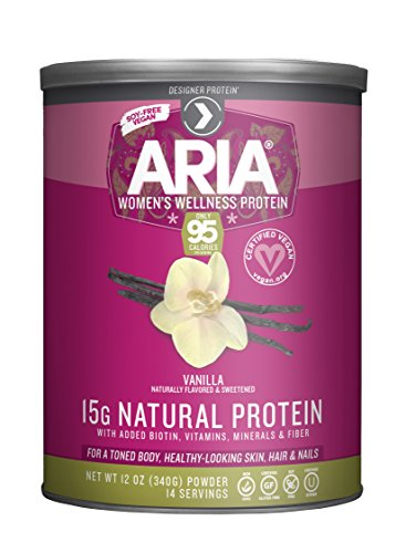 Designer Protein Aria Women's Protein Supplement, Vanilla, 12-Ounce Canisters (Pack of 2)