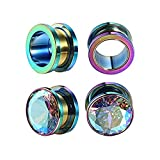 BodyJ4You 2 Pairs Surgical Steel Screw-Fit Tunnel Rainbow Plug 0G (8mm) Stretcher Gauges