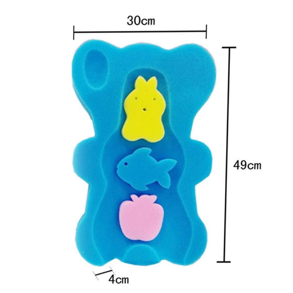 Iswell baby badewanne net niedlichen cartoon form weich umweltfreundlich ungiftig dick rutschfeste schwamm kissen pad neugeborenes baby kleinkinder blau