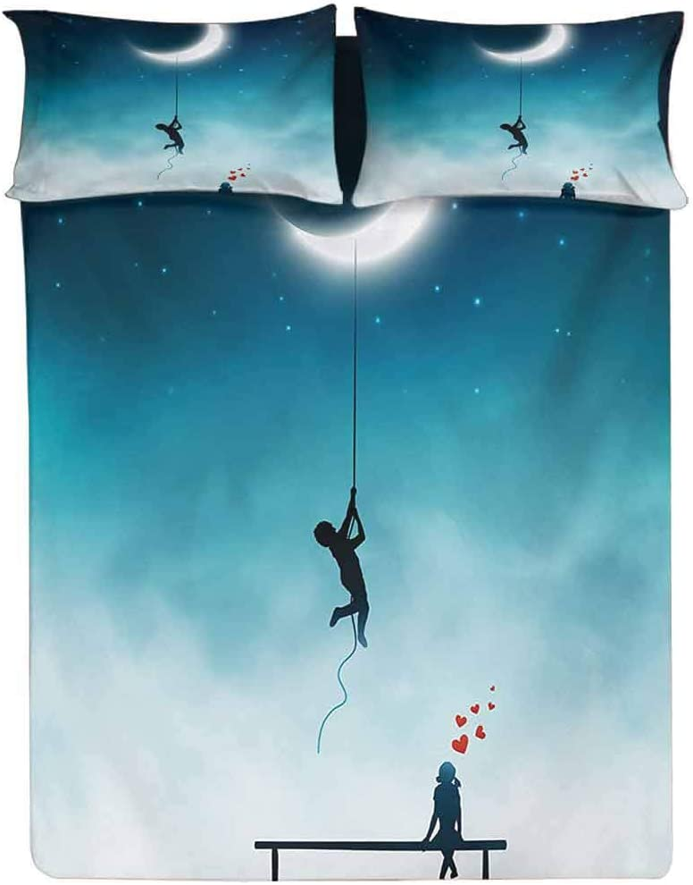 Fitted Sheet Twin XL Size,Boy Climbing To The Moon With Rope and Girl On Bench Love Valentines Fantasy Fitted Sheet Set 3 Piece,1 Fitted Sheet & 2 Pillow Cases,15