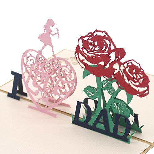 Cute Star I Love Dad 3D Pop Up Greeting Cards with Envelope, Gift for Father's Day Children's Day Birthday Best Wish Good Luck Wedding Invitation Congratulation, Gold Cover