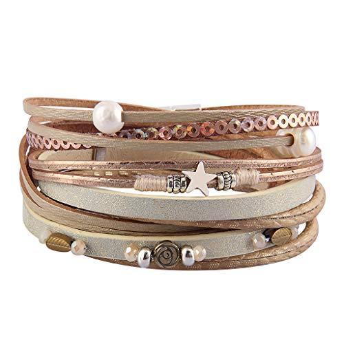 (AZORA Womens Leather Wrap Bracelet Handmade Pearls Beads Cuff Bangle Bracelets for Women Girls (Beige))