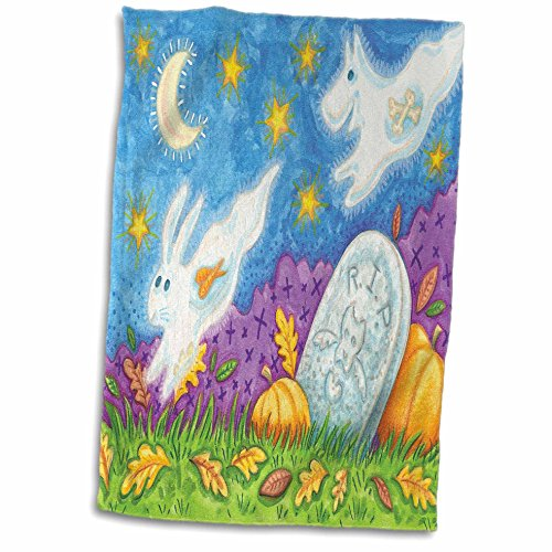 Cute Halloween Pictures Dogs (3dRose Anne Marie Baugh - Halloween - Cute Halloween Grave With Jumping Bunny and Dog Ghosts Illustration - 12x18 Hand Towel (twl_216738_1))