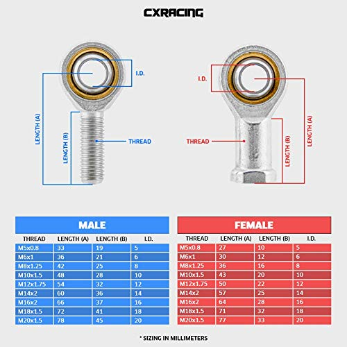 CXRacing High Strength Male Left Right Thread Ball Joint Rod End M16