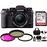Fujifilm X-T2 Mirrorless Digital Camera w/18-55mm Lens w/Focus Gear Bag & 64GB Memory Card