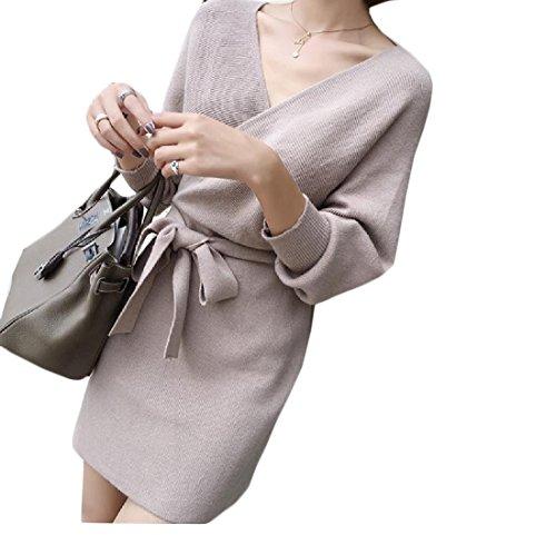 Coolred-femmes Manches Chauve-souris À Tricoter V Cou Dos Nu Solide Longueur Mi Robe Motif1