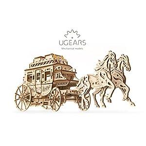 Ugears 70045 Carrozza Postale Per Fai Da Te Meccanica Semplice E Ampia Bella E Originale Intagliato Postale Carrozza Per Cavalli 248 Pezzi 3d Puzzle In Legno Modellino