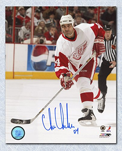AJ Sports World Chris Chelios Detroit Red Wings Autographed Hockey Action 8x10 Photo (Chris Red Chelios Wings)