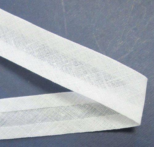 25 m Baumwollschrägband weiß 40/20 mm