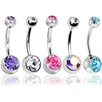 BODYA Belly Bars Balls Surgical Steel Belly Button Jewellery, Pack of 5, Navel Barbells Body Piercing Jewellery