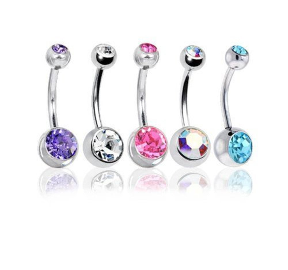 Pack of 5 Surgical Steel Gem Belly Bar Navel and Body Peircings UK Delivery