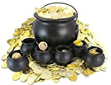 "Well Pack Box Cauldron Bundle 420 Plastic Gold Coins Includes 1 Large 8"" tall Black Cauldron Pot 6 Mini 3"" tall Black Cauldrons Halloween, St Patrick's Day Parties"