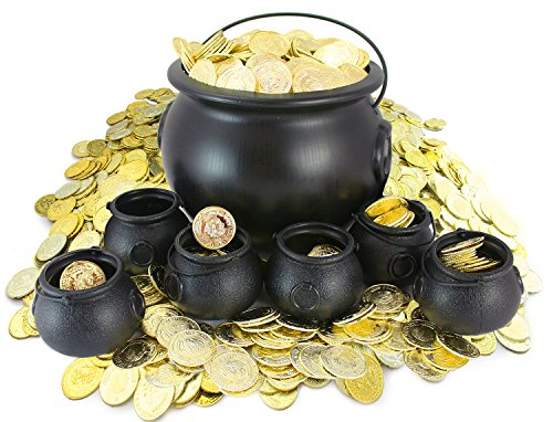 "Well Pack Box Cauldron Bundle 420 Plastic Gold Coins Includes 1 Large 8"" tall Black Cauldron Pot 6 Mini 3"" tall Black Cauldrons Halloween, St Patrick's Day Parties by Well Pack Box"
