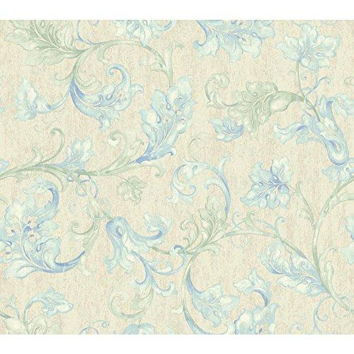 - York Wallcoverings EP6168 Acanthus Leaf Trail Wallpaper, Cream, Beige, Light Green, Light Blue