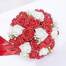 Bouquet rose de mariage artificielle garni du cristal et perle avec ruban de soie faits à la main rouge