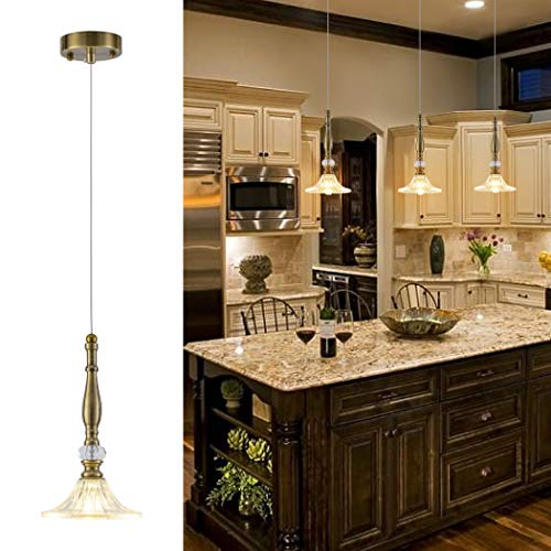 Copper And Crystal Pendant Light in US - 2
