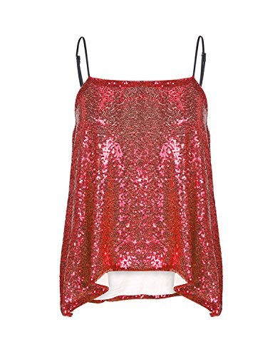 HaoDuoYi Womens Sparkly Sequin Spaghetti Strap Crop (Sparkly Red Top)