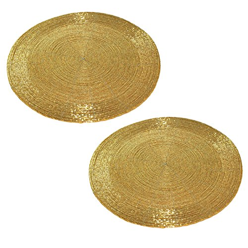"""Prisha India Craft SET OF 2 Handmade Golden Beaded Round Ethnic Placemat / Tablemat Decorative Placemat - large coaster Perfect for Dinner Table ( Dia - 12"""") Christmas Gift"""