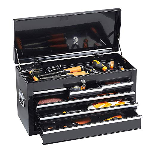 Tool Box Rolling 2 in 1 Portable Tool Chest Cabinet Top&Bottom Key Lockable Storage Toolbox with 4 Swivel Wheels (2pc with brake), 6-Sliding Drawers Removable Toolbox Organizer, Black by Long world (Image #4)